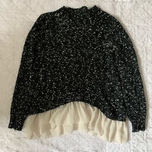 Black and white love and liberty long sweater.